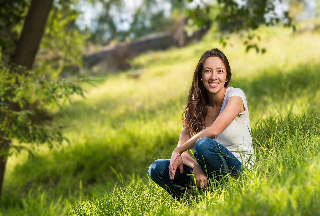 Figure 1.  Kelsey on location with softbox to camera right.